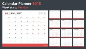 Calendar плановик 2018, старты понедельник недели, шаблон дизайна вектора Стоковые Фотографии RF