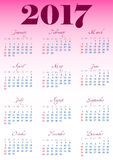 Calendar решетка на 2017 с знаменитыми днями выходных Стоковые Фотографии RF