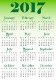 Calendar решетка на 2017 с знаменитыми днями выходных Стоковая Фотография
