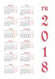 Calendar решетка на 2018 с знаменитыми днями выходных Стоковое Фото