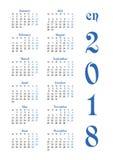 Calendar решетка на 2018 с знаменитыми днями выходных Стоковое Изображение RF