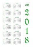 Calendar решетка на 2018 с знаменитыми днями выходных Стоковые Изображения RF