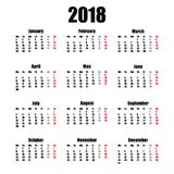 Calendar стиль 2018 год простой изолированный на белой предпосылке также вектор иллюстрации притяжки corel Стоковая Фотография