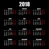 Calendar стиль 2018 год простой изолированный на черной предпосылке также вектор иллюстрации притяжки corel Стоковая Фотография RF