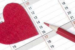 Calendar страница с маркированной датой 14-ое -го февраль Стоковая Фотография RF
