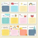 Calendar 2017 с милыми животными, насекомыми и другим Стоковые Фотографии RF