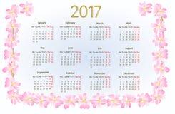 Calendar 2017 с одичалым розовым вектором года сбора винограда цветений Стоковые Фото