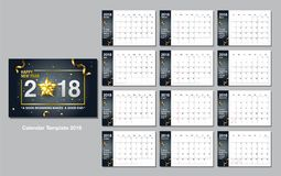Calendar шаблон дизайна, счастливый Новый Год, 2018, иллюстрация вектора Стоковые Изображения