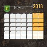 Calendar шаблон на 2018 -го январь с абстрактной предпосылкой grunge Стоковые Изображения