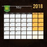 Calendar шаблон на месяц 2018 -го в мае с абстрактной предпосылкой grunge Стоковое фото RF