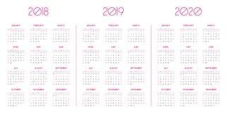 Calendar шаблон на 2018, 2019, 2020 Иллюстрация вектора