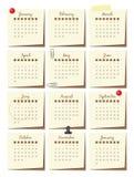 Calendar шаблон на 2017 на стикерах, с неподвижными элементами Стоковые Фотографии RF