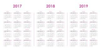 Calendar шаблон на 2017, 2018, 2019 Стоковое Изображение