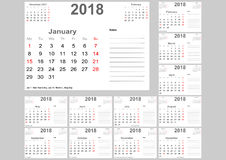 Calendar 2018 для США с местом для примечаний Стоковое Изображение RF