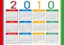 Calendar  1010. Colorful Calendar for the year 2010 Royalty Free Stock Photography