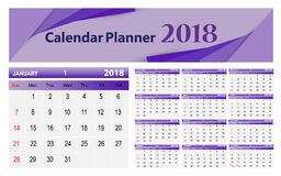 Calendar-2018 Illustrazione di Stock