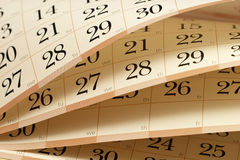 Calendar. Fragment with half-opened sheets in different angles Stock Image