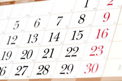 Calendar. Fragment perspective shot with partial blurred areas Royalty Free Stock Photography
