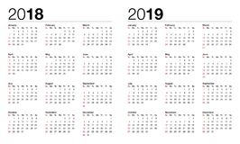 Calendar for 2017 and 2018 vector illustration
