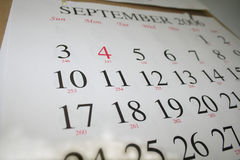 Calendar. Of September, holiday, week Stock Photography