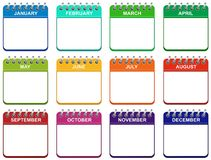 Month calendar icons set illustration EPS stock illustration