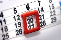 Calendar. Macro picture of detailed page of a calendar Royalty Free Stock Photos
