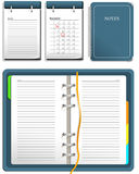 Calendar. And notebook - open and closed Royalty Free Stock Images