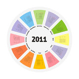 Calendar. Circular design of colorful calendar for 2011.Week starts on sunday vector illustration