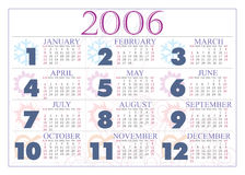 Calendar 2006. 2006 colored calendar with seasons? icons and ornamental background Royalty Free Stock Images