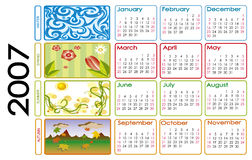 Calendar for 2007. 2007 year calendar with seasons illustration Royalty Free Stock Image