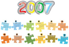 Calendar for 2007. (effect puzzle with colors corresponding to seasons Royalty Free Stock Photos