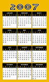 Calendar 2007. A calendar for 2007 on a gold background with the months in a grid system over the top Stock Image