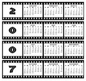 Calendar 2007 with film strip frame. A calendar for 2007 on a white background with the months in a grid system over the top with film frame stip around each Royalty Free Stock Photography