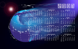 Calendar 2007 and globe or world. A calendar for 2007 on a world or globe background with the months in a grid system over the top and space effects in the Royalty Free Stock Photography