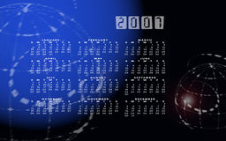 Calendar 2007 and globe or world in space. A calendar for 2007 on a world or globe background with the months in a grid system over the top and space effects in Stock Photos
