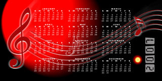 Calendar 2007 on a music background. A calendar for 2007 on a musical background with the months in a grid system over the top and music notes Royalty Free Stock Image
