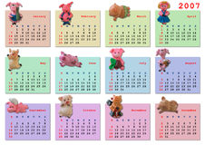 Calendar on 2007 year. (magnetic pig for each month Royalty Free Stock Image