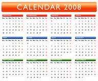 Calendar 2008. Colorful Calendar for year 2008 Royalty Free Stock Image