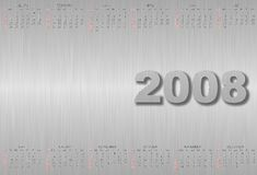 Calendar 2008. Year.Chrome metal texture Royalty Free Stock Photo