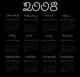 Calendar 2008. (white end black Royalty Free Illustration