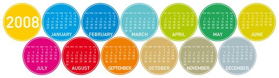 Calendar 2008 (fc2). Colorful Calendar for 2008, circles design Royalty Free Stock Photography