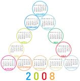 Calendar 2008 (fca1). Colorful Calendar for 2008. with a circles design Stock Photos