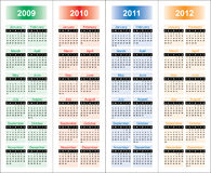Сalendar of 2009-2012 years. Stock Photo