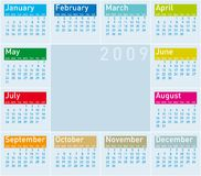 Calendar 2009. Colorful Calendar for 2009 in cold tones Royalty Free Stock Photography