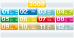 Calendar 2009. Colorful Calendar for 2009. Horizontal design. with space reserved for logo Vector Illustration