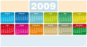 Calendar 2009. Colorful Calendar for 2009. Horizontal design. With Space reserved for logo and text Stock Illustration