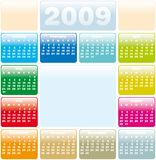 Calendar 2009. Colorful Calendar for 2009. With Space reserved for logo and a photo Royalty Free Stock Photo
