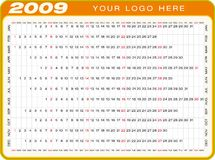 Calendar 2009. Calendar for 2009. Numbers within a grid. Horizontal design vector illustration