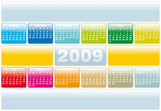 Calendar 2009. Colorful Calendar for 2009. with space reserved for logo and text Stock Photo