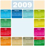 Calendar 2009. Colorful Calendar for 2009. with space reserved for logo and a picture in the center Stock Image